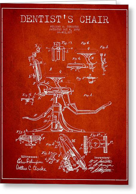 Dentist Chair Patent Drawing From 1892 - Red Greeting Card