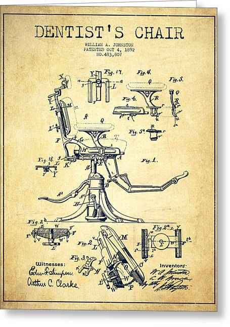 Dentist Chair Patent Drawing From 1892 - Vintage Greeting Card by Aged Pixel