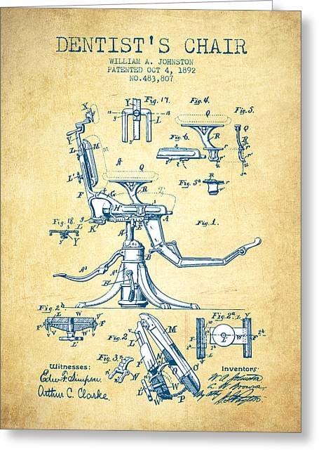 Dentist Chair Patent Drawing From 1892 - Vintage Paper Greeting Card
