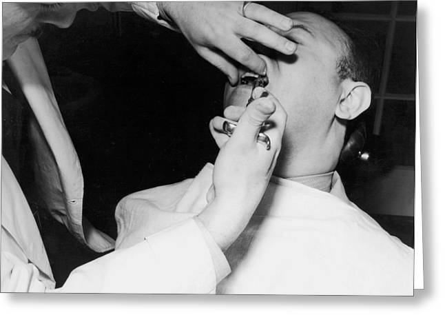 Dentist Giving A Novocain Shot Greeting Card by Underwood Archives