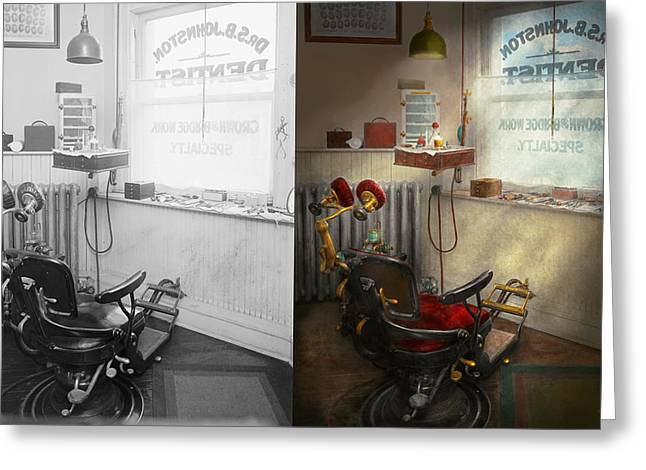 Dentist - S.b. Johnston Dentist 1919 - Side By Side Greeting Card by Mike Savad