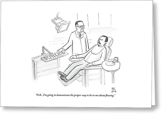 Dentist Speaks To Man In Dentist Office Greeting Card