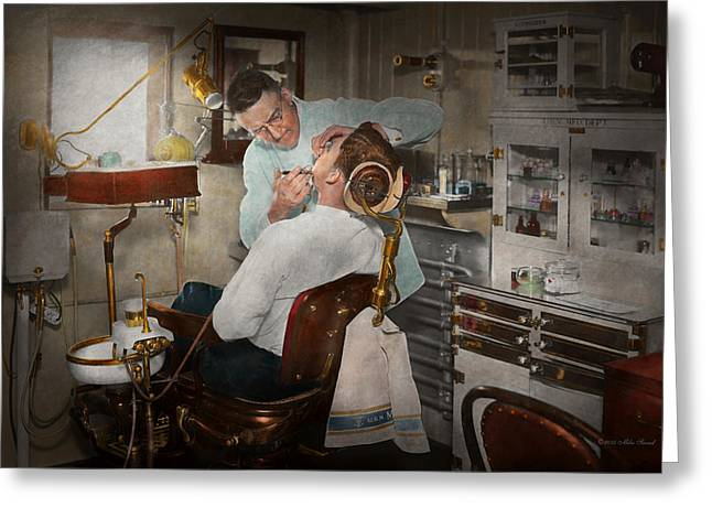 Dentist - The Dental Examination - 1943 Greeting Card by Mike Savad