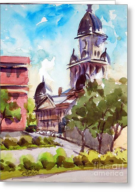 Denton County Courthouse Tx Greeting Card by Ron Stephens
