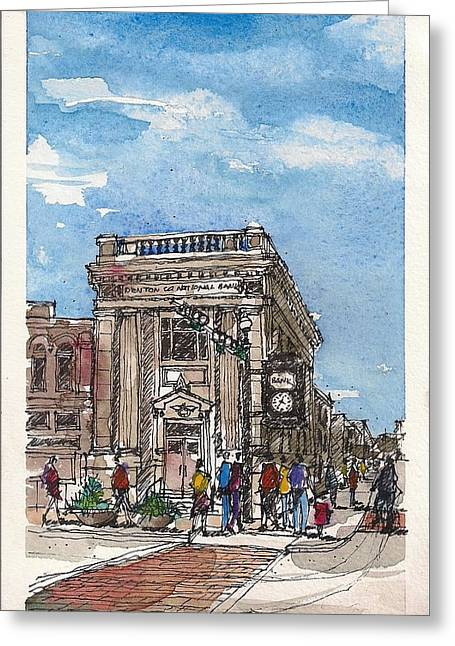 Greeting Card featuring the mixed media Denton County National Bank by Tim Oliver
