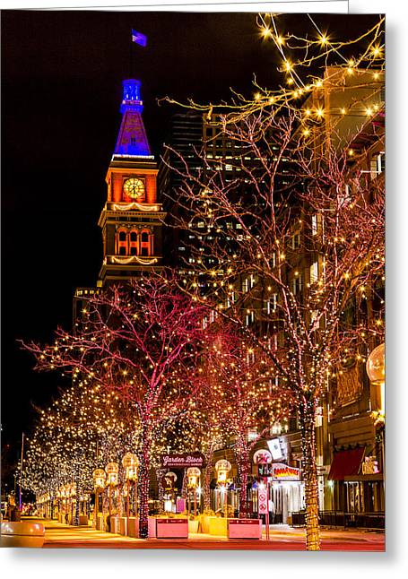Denver 16th Street Mall In Orange And Blue Greeting Card