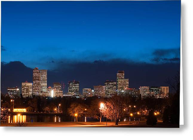 Denver At Twilight  Greeting Card by Eric Rundle