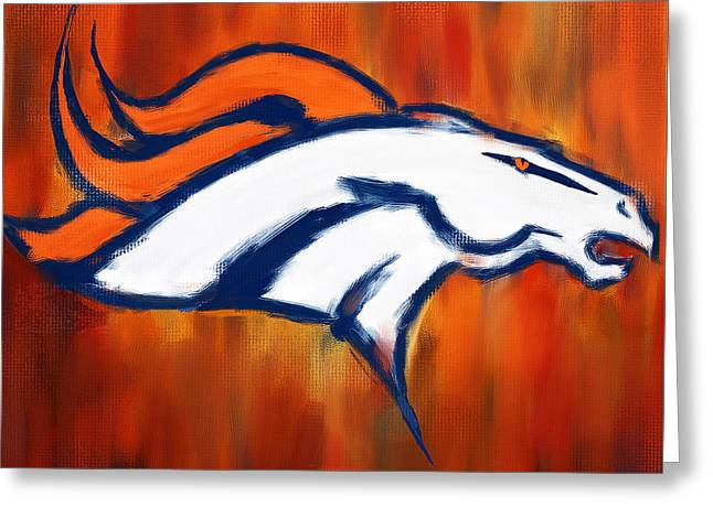Denver Broncos Greeting Card by Lourry Legarde