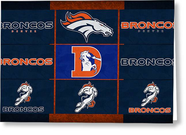 Denver Broncos Uniform Patches Greeting Card by Joe Hamilton