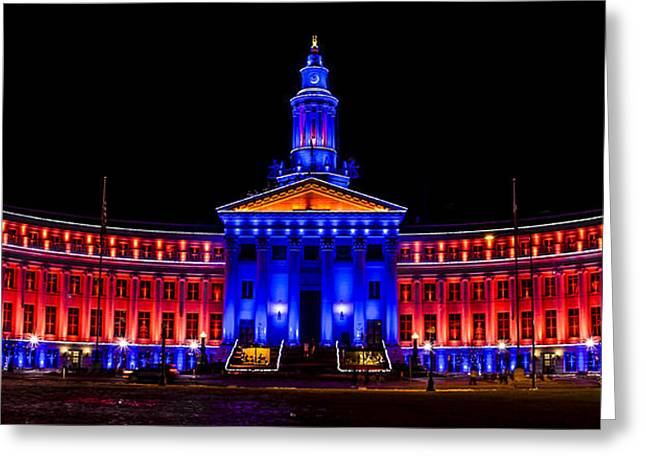 Denver City And Country Building In Bronco Blue And Orange Greeting Card