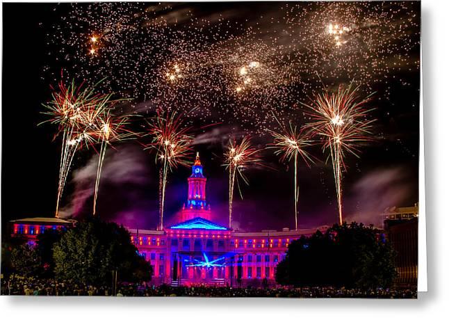 Denver Colorado Independence Eve Fireworks Greeting Card by Teri Virbickis