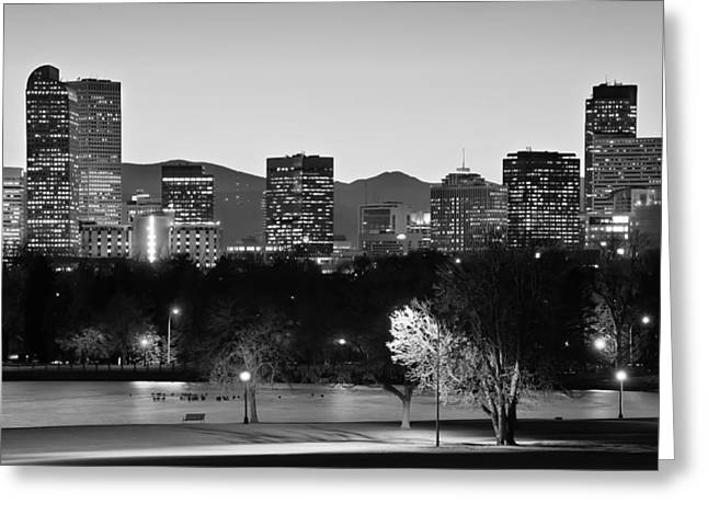 Denver Colorado Skyline In Black And White Greeting Card