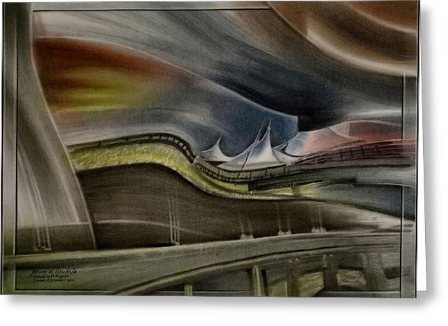 Greeting Card featuring the pastel Denver Intl Airport 2010 by Glenn Bautista