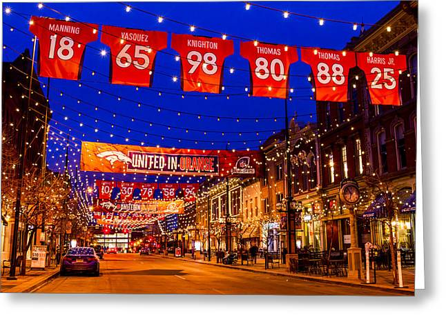 Denver Larimer Square Blue Hour Nfl United In Orange Greeting Card