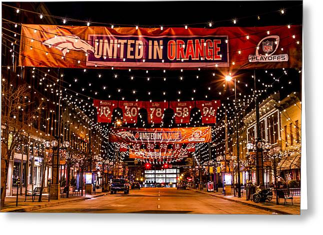 Denver Larimer Square Nfl United In Orange Greeting Card