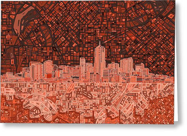 Denver Skyline Abstract 6 Greeting Card