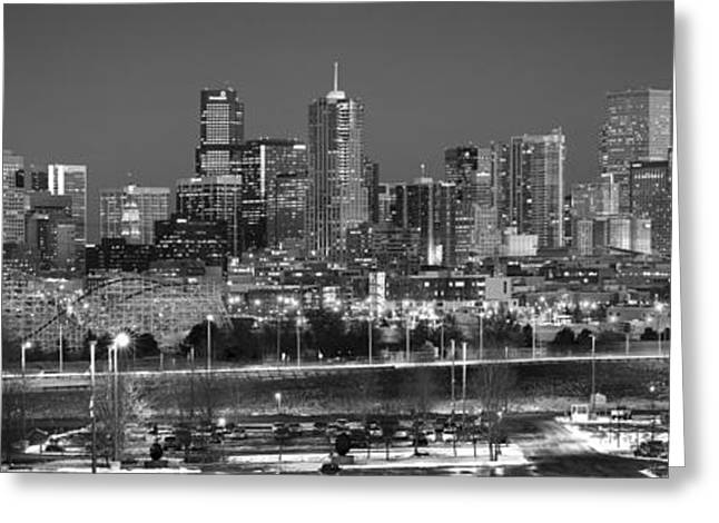 Greeting Card featuring the photograph Denver Skyline At Dusk Black And White Bw Evening Panorama Broncos Colorado  by Jon Holiday