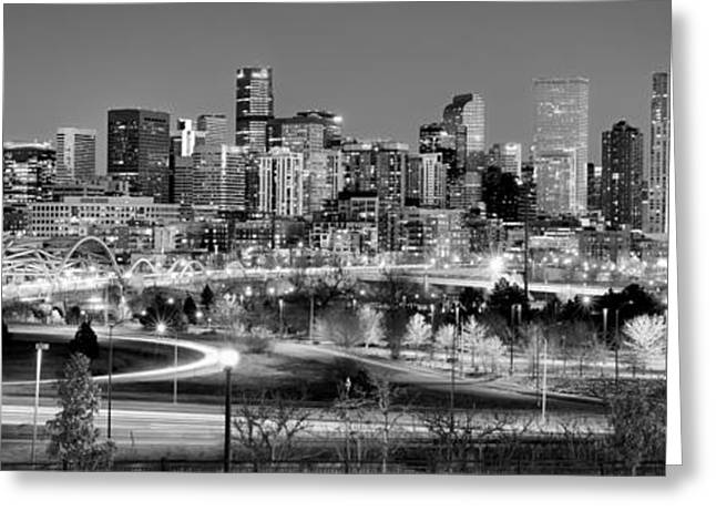 Greeting Card featuring the photograph Denver Skyline At Dusk Evening Bw Black And White Evening Panorama Broncos Colorado  by Jon Holiday