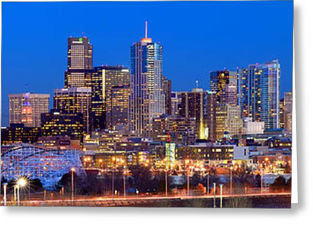 Greeting Card featuring the photograph Denver Skyline At Dusk Evening Color Evening Extra Wide Panorama Broncos by Jon Holiday