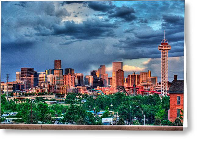 Greeting Card featuring the photograph Denver Skyline by Teri D Brown