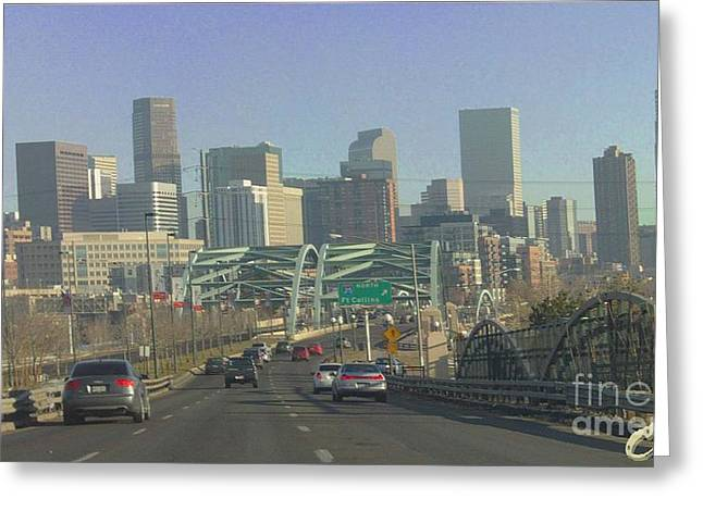 Denver Skyline View East From Speer 12 10 2011 Greeting Card by Feile Case