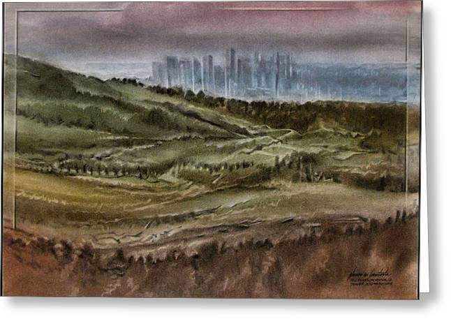 Greeting Card featuring the pastel Denverscape 2010 by Glenn Bautista