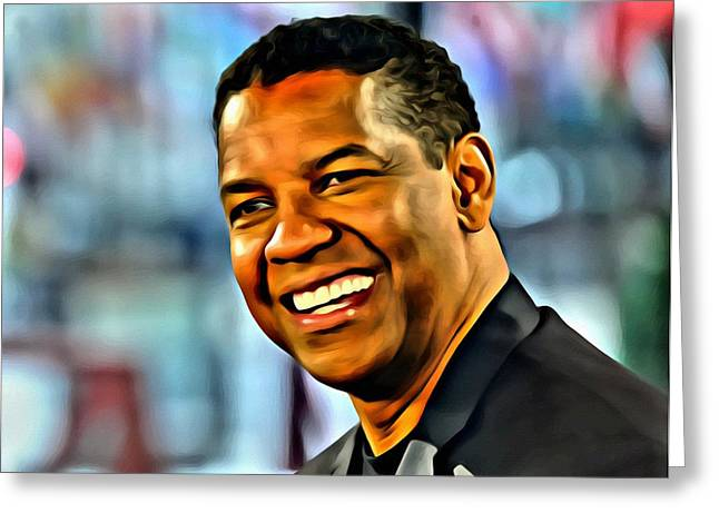 Greeting Card featuring the painting Denzel Washington by Florian Rodarte