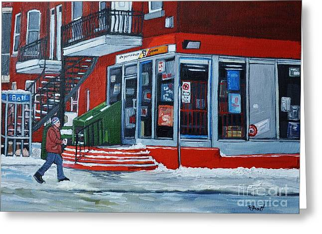 Depanneur 7 Jours Verdun Quebec Greeting Card by Reb Frost