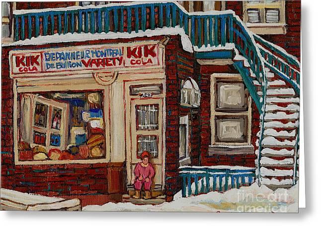 Depanneur Kik Cola Montreal Greeting Card by Carole Spandau