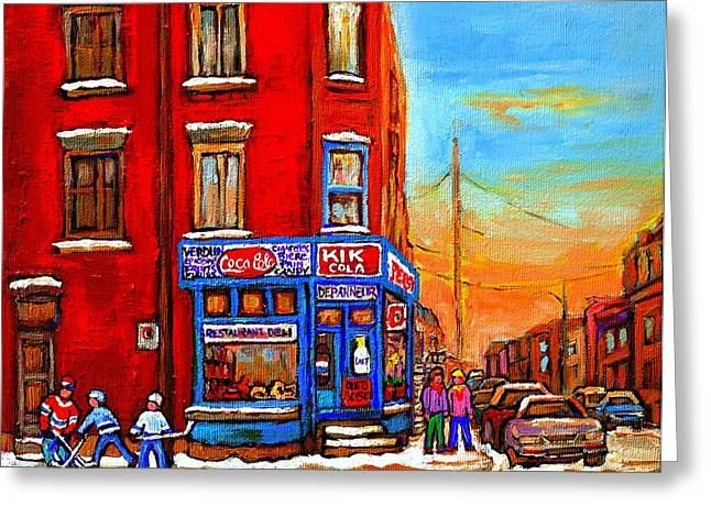 Depanneur Marche Fruits Verdun Restaurant Smoked Meat Deli  Montreal Winter Scene Paintings  Hockey  Greeting Card by Carole Spandau