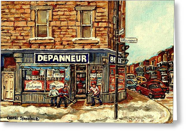 Depanneur Safa Verdun Cornerstore Wellington St Montreal Winterscene  Paintings Hockey Art Cspandau  Greeting Card by Carole Spandau