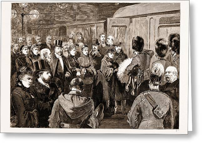 Departure Of The Duke And Duchess Of Connaught For India Greeting Card