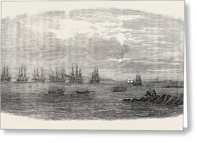 Departure Of The Ocean French Fleet From Brest, France Greeting Card by French School
