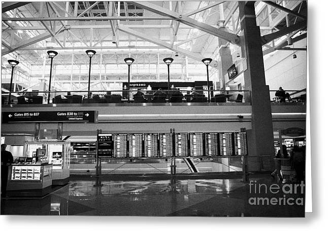 departures board at concourse b Denver International Airport Colorado USA Greeting Card by Joe Fox