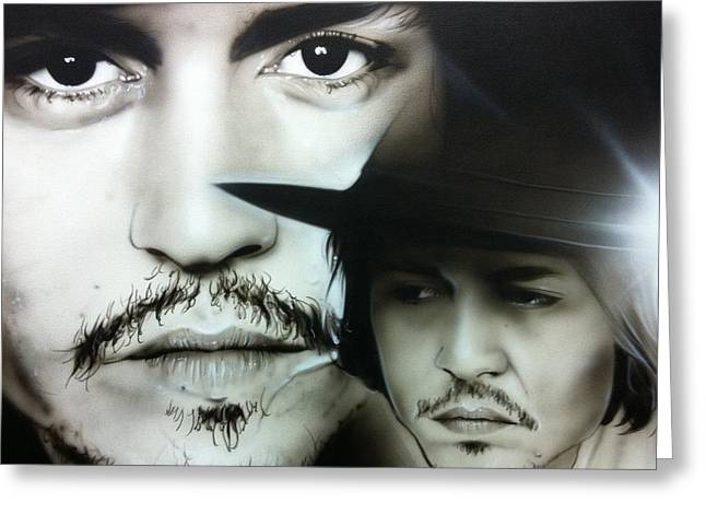 Johnny Depp - ' Depp ' Greeting Card by Christian Chapman Art