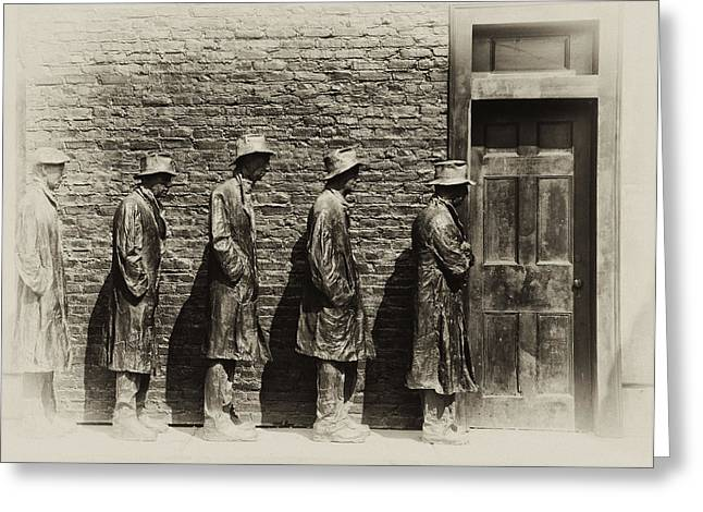 Depression Era Bread Line Greeting Card by Bill Cannon
