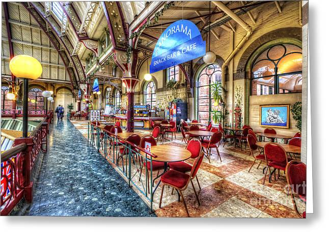Derby Market Hall Cafe Greeting Card by Yhun Suarez