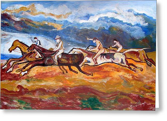 Greeting Card featuring the painting Derby Race Horses by Anand Swaroop Manchiraju