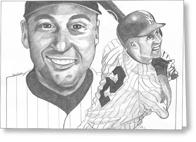 Derek Jeter Greeting Card by Brian Condron