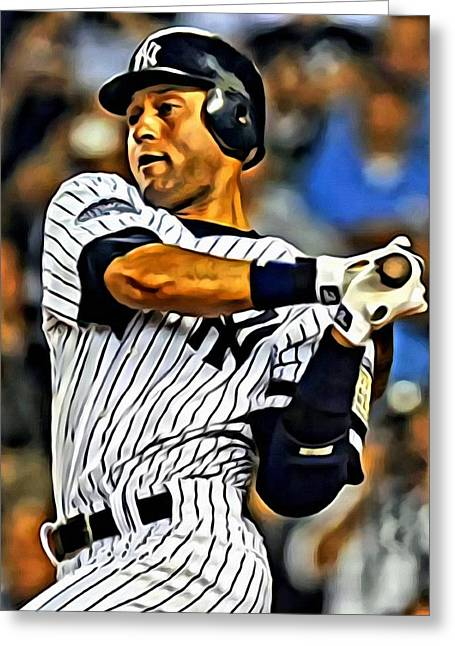 Derek Jeter In Action Painting By Florian Rodarte