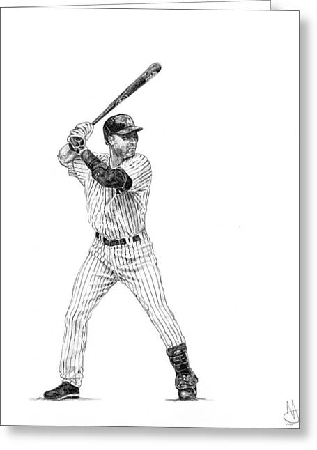 Derek Jeter Greeting Card by Joshua Sooter