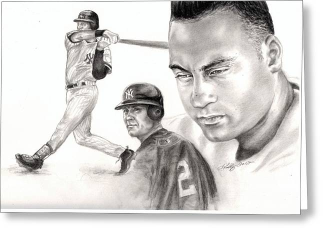 Derek Jeter Greeting Card by Kathleen Kelly Thompson