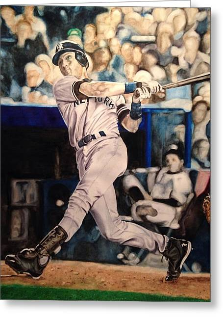 Greeting Card featuring the painting Derek Jeter by Lance Gebhardt
