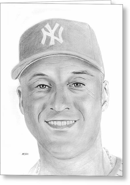 Derek Jeter Greeting Card by Pat Moore