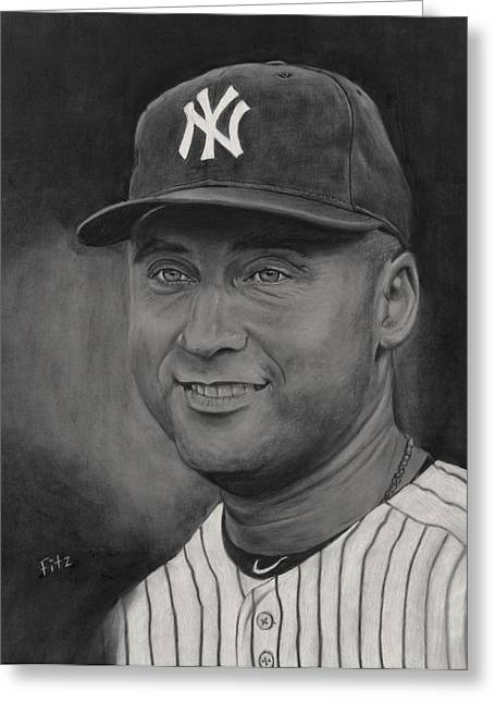 Derek Jeter Greeting Card by Rick Fitzsimons