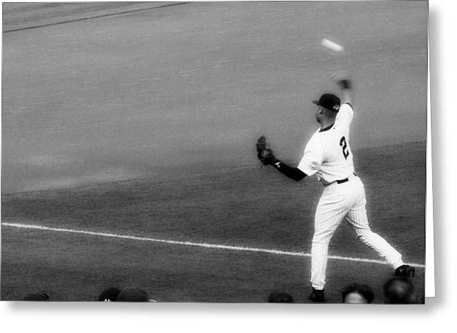 Derek Jeter Warming Up Before A Game - Full Black And White Greeting Card