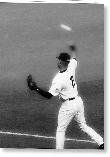 Derek Jeter Warming Up Before A Game - Full Black And White Close-up Greeting Card