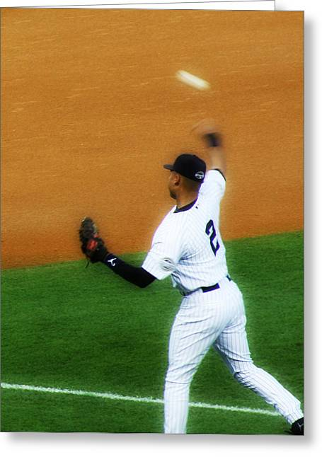 Derek Jeter Warming Up Before A Game - Full Color Close-up Greeting Card by Aurelio Zucco