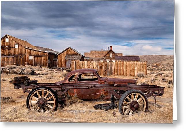 Derelict Transport In Bodie Ghost Town Greeting Card