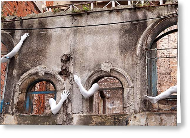 Derelict Wall Of Lost Limbs 02 Greeting Card by Rick Piper Photography